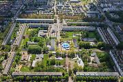 Nederland, Zuid-Holland, Leidschendam, 09-05-2013; De Heuvel, nieuwbouwwijk uit de jaren zestig, overloopgebied voor Den Haag. Circus met circustent.<br /> Basiontwerp is rechthoekig hof bestaande uit dubbele ring van woningen (middelhoogbouw) met daarbinnen voorzieningen in het groen. Wederopbouwgebied.<br /> New residential area built in the sixties, overflow area for The Hague. Basic design is rectangular court with a double ring of housing (medium-rise) and green courtyard in the middle. Reconstruction area.<br /> luchtfoto (toeslag op standard tarieven)<br /> aerial photo (additional fee required)<br /> copyright foto/photo Siebe Swart