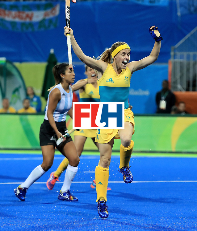 RIO DE JANEIRO, BRAZIL - AUGUST 11:  Emily Smith #26 of australia reacts to a goal during a Women's Preliminary Pool B match against Argentina at the Olympic Hockey Centre on August 11, 2016 in Rio de Janeiro, Brazil.  (Photo by Sam Greenwood/Getty Images)