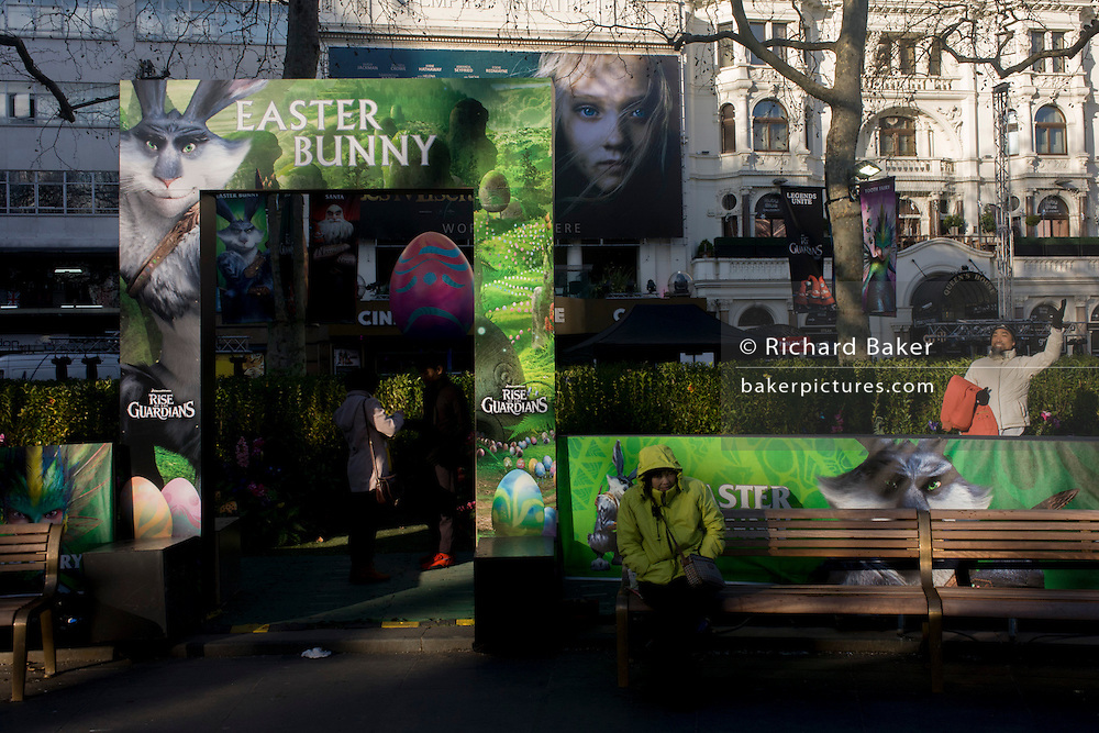 "Fantasy theme characters' faces from ""Rise of the Guardians"" in London's Leicester Square. The DreamWorks production is a 2012 3D computer-animated fantasy-adventure film based on William Joyce's The Guardians of Childhood book series and The Man in the Moon short film by Joyce and Reel FX."