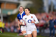 England player Kelly Smith runs in a try after running onto a long kick in the first half during the Women's 6 Nations match between England Women and France Women at the Keepmoat Stadium, Doncaster, England on 10 February 2019.