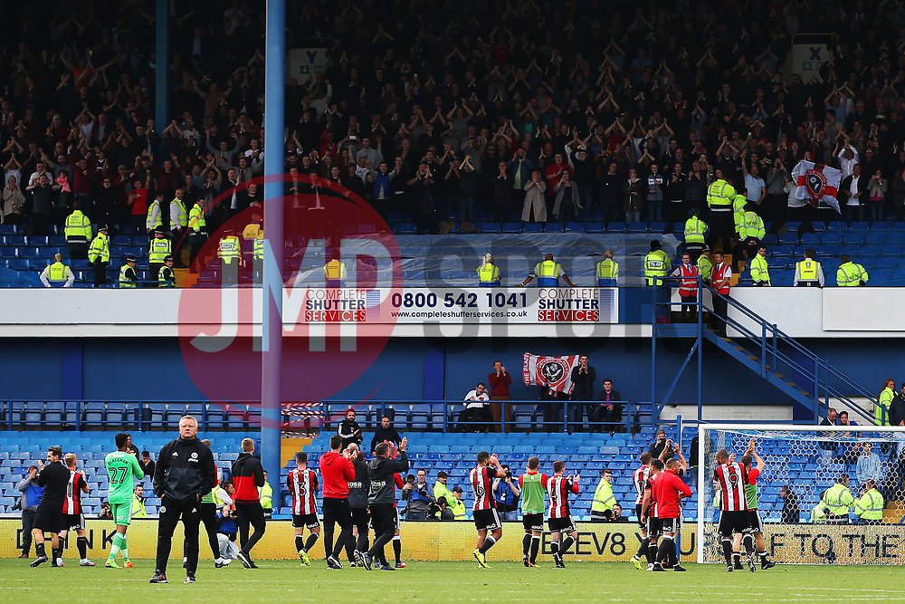 Sheffield United players celebrate with the fans at full time - Mandatory by-line:  Matt McNulty/JMP - 24/09/2017 - FOOTBALL - Hillsborough - Sheffield, England - Sheffield Wednesday v Sheffield United - Sky Bet Championship