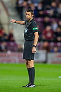 Referee Kevin Clancy during the Betfred Scottish Football League Cup quarter final match between Heart of Midlothian FC and Aberdeen FC at Tynecastle Stadium, Edinburgh, Scotland on 25 September 2019.