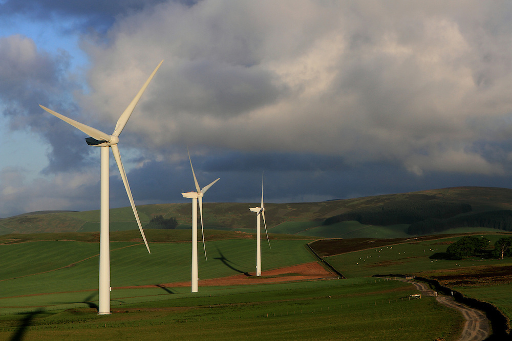 Halkburn Windfarm in the Scottish Borders on a summers morning; run by Wind Prospect Ltd