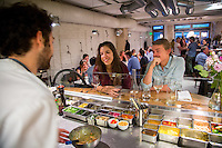 Paris, France - July 16, 2014: Patrons chat with staff in the open kitchen at Semilla. CREDIT: Chris Carmichael for The New York Times