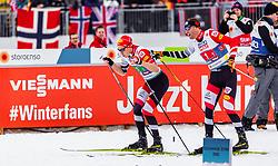 02.03.2019, Seefeld, AUT, FIS Weltmeisterschaften Ski Nordisch, Seefeld 2019, Nordische Kombination, Langlauf, Team Bewerb 4x5 km, im Bild Mario Seidl (AUT), Bernhard Gruber (AUT) // Mario Seidl of Austria Bernhard Gruber of Austria during the Cross Country Team competition 4x5 km of Nordic Combined for the FIS Nordic Ski World Championships 2019. Seefeld, Austria on 2019/03/02. EXPA Pictures © 2019, PhotoCredit: EXPA/ Stefanie Oberhauser