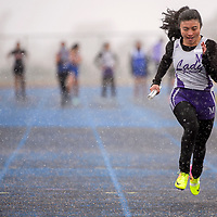 Miyamura Patriot Ariel Josafat sprints to a first place finish in the 4x100m relay Saturday at Zuni High School.