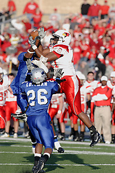25 November 2006: Alan Abrams takes a Panther pass for an interception. The Redbirds romped the Panthers by a score of 24-13...This game was a 1st round NCAA Division 1 Playoff held at O'Brien Stadium on the campus of Eastern Illinois University in Charleston Illinois.<br />