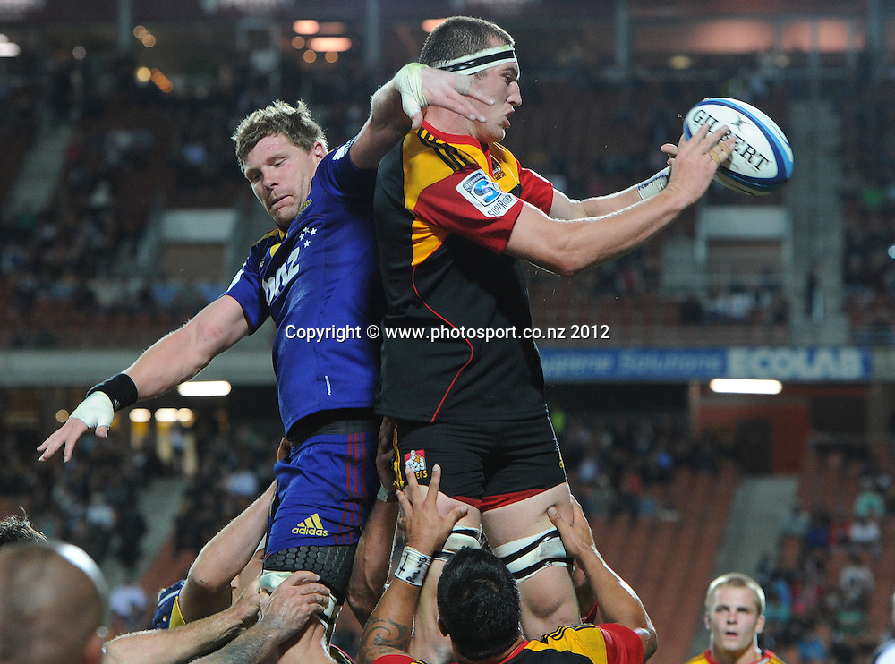 Chiefs lock Brodie Retallick during the 2012 Super Rugby season, Chiefs v Highlanders match at Waikato Stadium, New Zealand. Saturday 25 February 2012. Photo: Andrew Cornaga/Photosport.co.nz