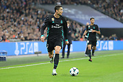 Real Madrid attaker Christiano Ronaldo (7) dribbling during the Champions League match between Tottenham Hotspur and Real Madrid at Wembley Stadium, London, England on 1 November 2017. Photo by Matthew Redman.