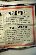 Execution notice from occupation years, German Underground Military hospital, Guernsey, Channel Islands, UK