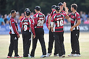 Tim Groenewald celebrates the wicket of Paul Stirling with the rest of the Somerset team  to during the NatWest T20 Blast South Group match between Middlesex County Cricket Club and Somerset County Cricket Club at Uxbridge Cricket Ground, Uxbridge, United Kingdom on 26 June 2015. Photo by David Vokes.