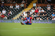 Crystal Palace attacker, Wilfried Zaha (11) with hands in the air during the Pre-Season Friendly match between Fulham and Crystal Palace at Craven Cottage, London, England on 30 July 2016. Photo by Matthew Redman.