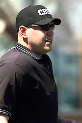 14 April 2013:  Umpire Steve Jones during an NCAA division 3 College Conference of Illinois and Wisconsin (CCIW) Baseball game between the Elmhurst Bluejays and the Illinois Wesleyan Titans in Jack Horenberger Stadium, Bloomington IL