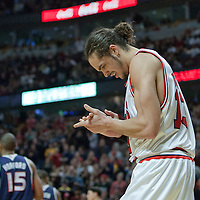 19 December 2009: Chicago Bulls center Joakim Noah reacts during the Chicago Bulls 101-98 victory in overtime over the Atlanta Hawks at the United Center, in Chicago, Illinois, USA.