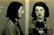 Prostitutes And Madams: Mugshots From When Montreal Was Vice Central<br /> <br /> Montreal, Canada, 1949. Le Devoir publishes a series of articles decrying lax policing and the spread of organized crime in the city. Written by campaigning lawyer Pacifique 'Pax' Plante (1907 – 1976) and journalist Gérard Filion, the polemics vow to expose and root out corrupt officials.<br /> <br /> With Jean Drapeau, Plante takes part in the Caron Inquiry, which leads to the arrest of several police officers. Caron JA's Commission of Inquiry into Public Morality began on September 11, 1950, and ended on April 2, 1953, after holding 335 meetings and hearing from 373 witnesses. Several police officers are sent to prison.<br /> <br /> During the sessions, hundreds of documents are filed as evidence, including a large amount of photos of places and people related to vice.  photos of brothels, gambling dens and mugshots of people who ran them, often in cahoots with the cops – prostitutes, madams, pimps, racketeers and gamblers.<br /> <br /> Photo shows: Jack Diamond, 1940 – arrested in connection with an investigation related to the game<br /> ©Archives de la Ville de Montréal/Exclusivepix Media