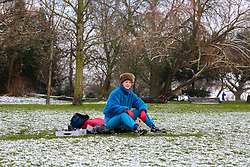 © Licensed to London News Pictures. 23/01/2019. London, UK. Alma Higelin in a snow covered Finsbury Park, north London. Photo credit: Dinendra Haria/LNP