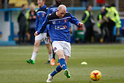 Carlisle United Midfielder Jason Kennedy warms up before todays game sponsored by Virgin Trains and Jewsons during the Sky Bet League 2 match between Carlisle United and Stevenage at Brunton Park, Carlisle, England on 20 February 2016. Photo by Craig McAllister.