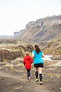 Mother and son together enjoying Auger Falls trails in the Snake River Canyon, Twin Falls, Idaho. MR