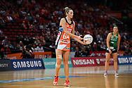 SYDNEY, AUSTRALIA - AUGUST 24: Jo Harten of the Giants passes the ball during the round 14 Super Netball match between the Giants and the West Coast Fever at Qudos Bank Arena on August 24, 2019 in Sydney, Australia.(Photo by Speed Media/Icon Sportswire)