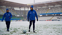 CESENA, ITALY - Tuesday, January 22, 2019: Italy staff test the snow covered pitch before the International Friendly between Italy and Wales at the Stadio Dino Manuzzi. (Pic by David Rawcliffe/Propaganda)