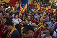 Spanish government supporters wave Spanish flags and carry banners during a large pro-unity demonstration on October 29, 2017 in Barcelona, Spain. Thousands gather in Barcelona, two days after the Catalan Parliament voted to split from Spain. The Spanish government has responded by imposing direct rule and dissolving the Catalan parliament.  on October 29, 2017 in Barcelona, Spain.