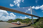 View of Centennial Bridge across the Panama Canal. Panama City, Panama, Central America.