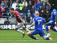 Football - 2018 / 2019 Premier League - Cardiff City vs. West Ham United<br /> <br /> Manuel Lanzini of West Ham Utd brought down by  Aron Gunnarsson of Cardiff City, at Cardiff City Stadium.<br /> <br /> COLORSPORT/WINSTON BYNORTH