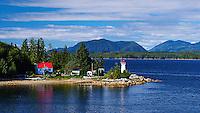Lighthouse near Bela Bela, British Columbia. Alaska Marine Highway. Image take with a Nikon D3 and 50 mm f/1.4 lens (ISO 200, 50 mm, f/11, 1/125 sec).