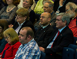 Pictured: Annabel Goldie, Partick Hrvey and Iain Gray<br /> <br /> The People Politics Hustings,  organised by the Church of Scotland, allowed voters to question SNP deputy John Swinney, Scottish Labour leader Kezia Dugdale, Scottish Liberal Democrat leader Willie Rennie, Scottish Greens co-convener Patrick Harvie and former Scottish Conservatives leader Annabel Goldie ahead of the Scottish Elections. Before the politicians had a chance to speak they had a chance to listen to five speakers with different viewpoints on how Scotland has supported them in the past and how it should support them in the future..<br /> Ger Harley | EEm 4 April 2016