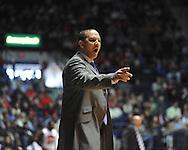 "Ole Miss vs. Auburn coach Tony Barbee at the C.M. ""Tad"" Smith Coliseum on Saturday, February 23, 2013.  (AP Photo/Oxford Eagle, Bruce Newman)"