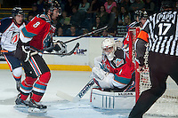 KELOWNA, CANADA - SEPTEMBER 20: Jackson Whistle #1 of Kelowna Rockets looks for the puck against the Kamloops Blazers on September 20, 2014 at Prospera Place in Kelowna, British Columbia, Canada.   (Photo by Marissa Baecker/Shoot the Breeze)  *** Local Caption *** Jackson Whistle;
