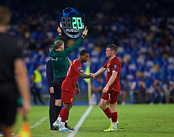 NAPLES, ITALY - Tuesday, September 17, 2019: Liverpool's James Milner is replaced by substitute Georginio Wijnaldum during the UEFA Champions League Group E match between SSC Napoli and Liverpool FC at the Studio San Paolo. (Pic by David Rawcliffe/Propaganda)