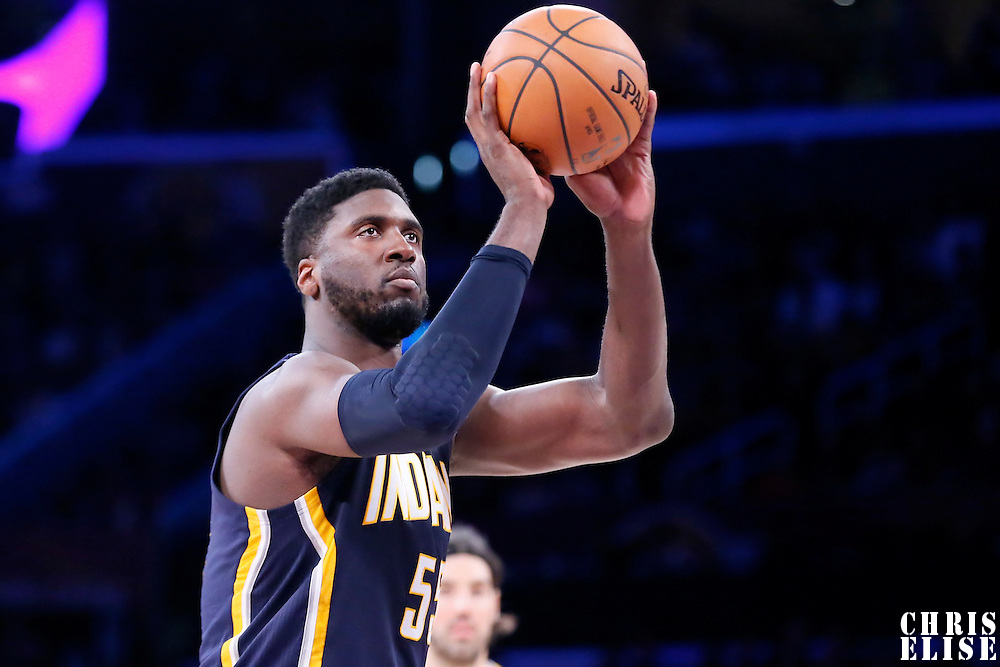 04 January 2014: Indiana Pacers center Roy Hibbert (55) is seen at the free throw line during the Los Angeles Lakers 88-87 victory over the Indiana Pacers, at the Staples Center, Los Angeles, California, USA.