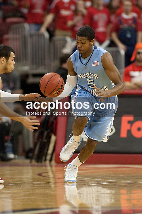 27 January 2010: North Carolina Tar Heels guard Dexter Strickland (5) during a 77-63 win over the North Carolina State Wolfpack at the RBC Center in Raleigh, NC.