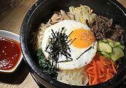 Allston, MA 092113  An Egg Stone Bibimpap dish from Bibim Restaurant in Allston, MA photographed on September 21, 2013. (Essdras M Suarez/ Globe Staff)/ G