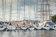 Segelbåtar inför Gotland runt  - ÅF Offshore Race - vid Skeppsholmen i Stockholm 2013.