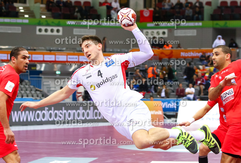 19.01.2015, Ali Bin Hamad Al Attiyah Arena, Doha, QAT, IHF, Handball Weltmeisterschaft der Herren, Gruppe B, Österreich vs Tunesien, im Bild Maximilian Hermann (AUT) // during the IHF Handball World Championship group B match between Austria and Tunisia at the Ali Bin Hamad Al Attiyah Arena, Doha, Qatar on 2015/01/19. EXPA Pictures © 2015, PhotoCredit: EXPA/ Sebastian Pucher