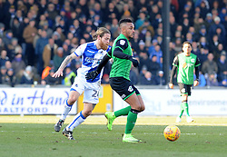 Stuart Sinclair of Bristol Rovers challenges Funso Ojo of Scunthorpe United - Mandatory by-line: Neil Brookman/JMP - 24/02/2018 - FOOTBALL - Memorial Stadium - Bristol, England - Bristol Rovers v Scunthorpe United - Sky Bet League One