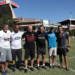 Robert du Preez (Head Coach) of the Cell C Sharks with Mzwandile Stick (Backline Coach) of South Africa - Dick Muir as an attack and backline consultant of the Cell C Sharks -Braam van Straaten of the Cell C Sharks - Jacques Nienaber (Defence Coach) of South Africa - and Alan Basson - Zondagh (Skills Coach) of the Cell C Sharks during the cell c sharks training session at Jonsson Kings Park Stadium,Durban.South Africa. 08,05,2018 Photo by Steve Haag)