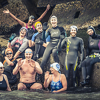 The Orkney 'Polar Bears' weekend wild swimming club, pictured at Churchill barrier No3.<br />