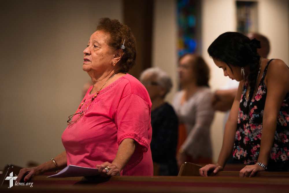 Isaias Rodriguez worships at Prince of Peace Lutheran Church in Orlando, Fla., on Sunday, Sept. 13, 2015. LCMS Communications/Erik M. Lunsford
