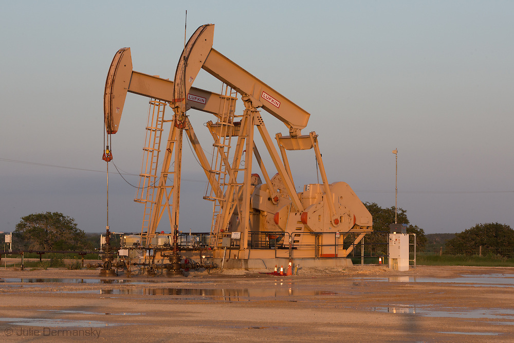 Pump jacks at a frack site in Panna Maria Texas, the oldest Polish settlement in the United States, in the heart of the Eagle Ford Shale region.