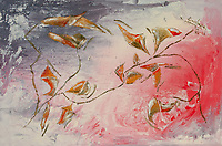 Abstract painting evoking a tiepid fall with yellow, green, white, red, orange, brownish leaf and flowers like shapes and branches and lines on pink, white, gray, red, enamel rough texture background, with nuances and shades.
