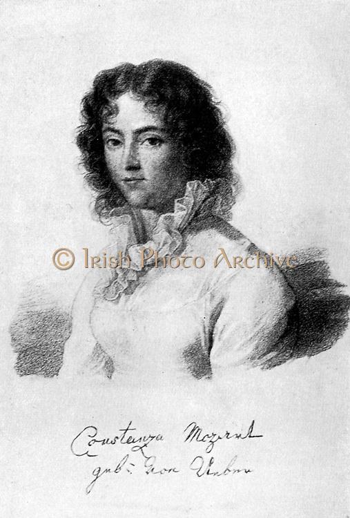Constanza Mozart, 1783.  Born Constanza Weber, she  married Wolfgang Amadeaus Mozart in 1783.