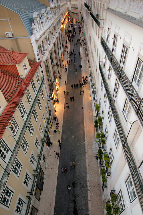 Aerial view of Pedonal street at Lisbon's Chiado district
