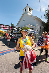 Great Cranberry Island Ultra 50K road race: Lindsay with winner's trophies