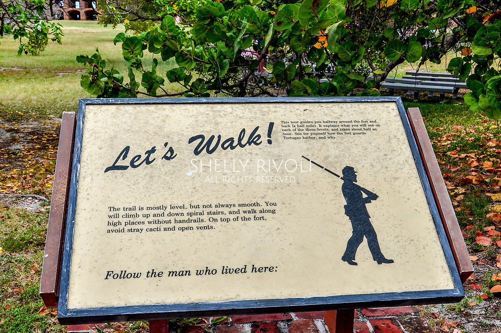 A sign greeting visitors who opt to take a self-guided walking tour of historic Fort Jefferson at Dry Tortugas National Park, Florida. A guided tour is also available, but spaces must be reserved during the ferry ride to the park.