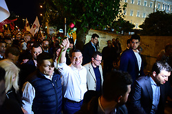 May 24, 2019 - Athens, Attiki, Greece - Greek Prime Minister and President of Syriza party, Alexis Tsipras, is greeting his voters with a carnation, before his speech, in front of Hellenic Parliament, in Syntagma Square. (Credit Image: © Dimitrios Karvountzis/Pacific Press via ZUMA Wire)
