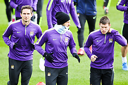 Frank Lampard, Martin Demichelis and James Milner of Manchester City pictured during the training session at The Etihad Campus ahead of the UEFA Champions League clash with FC Barcelona - Photo mandatory by-line: Matt McNulty/JMP - Mobile: 07966 386802 - 23/02/2015 - SPORT - Football - Manchester - Etihad Stadium