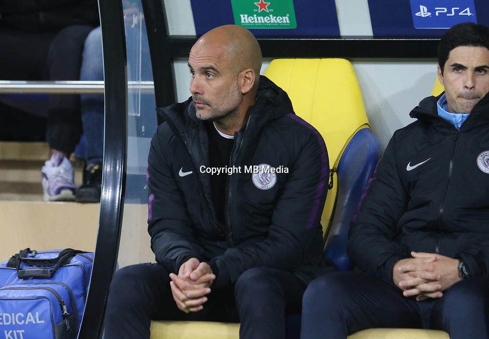 KHARKOV, UKRAINE - OCTOBER 23: Manchester City's Spanish coach Josep Guardiola reacts during the Group F match of the UEFA Champions League between FC Shakhtar Donetsk and Manchester City at Metalist Stadium on October 23, 2018 in Kharkov, Ukraine. (Photo by MB Media/Getty Images)
